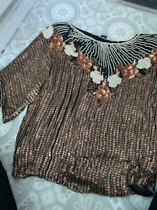 frank usher sequin and bead top size medium