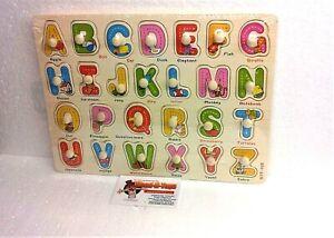 Wooden Alphabet  Peg Board Jigsaw Puzzles