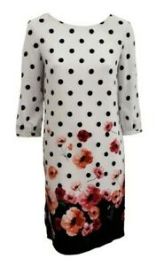 Women Ladies ex M & Co polka dot and poppy printed dress - Sizes 10 to 22