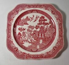 """Johnson Brothers WILLOW PINK RED 7-3/4"""" Square Salad Plate(s) EXCELLENT"""