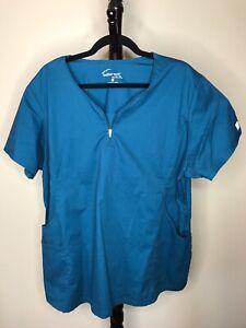 Butter Soft 2X Teal V Neck Zip Short Sleeve Pockets Scrubs