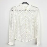 Meadow Rue by Anthropologie Size 10 White Lace Blouse Button Down Long Sleeve
