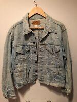 Mens Vintage 1980s Levi Red Tab Blue Stonewash Denim Trucker Jacket USA Medium