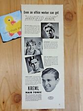 KREML HAIR TONIC Magazine Ad Print 1943 WWII Office Worker Can Get Hayfield Hair