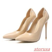 Ladies Pointy Toe Stiletto High Heels Shoes Patent Leather Pump Court Shoes Size