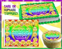 Emoji faces Edible Cake Topper Frosting Sheet sugar paper picture cupcakes round