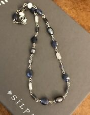 Silpada Sterling Silver Pearls Lolite Sodalite Blue Necklace N1308 Stone 16""