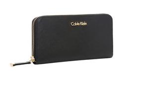 BNWT Calvin Klein Black Saffiano Leather Zip Around Wallet