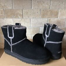 UGG Classic Mini Spill Seam Black Suede Fur Boots Size US 10 Womens