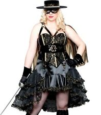 DOMINATRIX BANDITA Halloween Costume ZORRO BLACK DRESS 2x 18 20 22 PLUS SIZE XXL