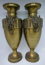 Pair Large Antique Belgica DF Brass Urn Vases With Gothic Devil Handles