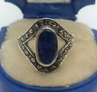 Vintage Sterling Silver Ring 925 Size 5 Blue Lapis Marcasite