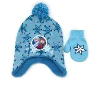 Disney's Frozen Anna & Elsa Hat & Mittens Set teal Toddler Size 2/4 Brand new!!