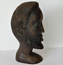 African ebony head tribal wood carving 5 inches tall DAMAGED NOSE