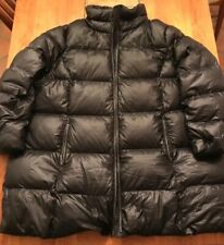 Lands End XXL 2X Mens Black Down Puffer Puffy Coat Zip Front Snow Skiing Jacket