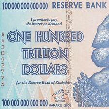4 X Zimbabwe 100 Trillion Dollar Note AA 2008 series UNC