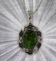 Wyoming Jade Pendant Necklace in Silver Plated Setting and chain