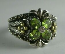 Retired Barbara Bixby 18K Yellow Gold Sterling Faceted Peridot size 9 Ring