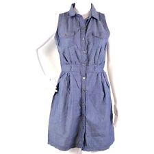BODY CENTRAL Womens Sz L Chambray Sleeveless Gather Waisted Button Shirt Dress