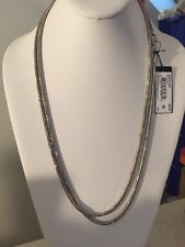 "Kenneth Cole NY ""Flat Mate"" Pave Rectangle Long Silver Pendant Necklace #478"