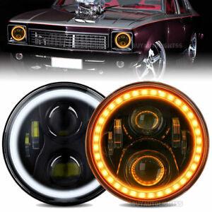 "Pair 7"" LED Halo Headlights Hi/Lo DRL Light For Holden Premier Kingswood Monaro"