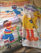 Sesame Street Twin Flat Fitted Sheet Set Colors Big Bird Bert Ernie Oscar