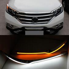 For Honda CR-V 2012-2014 LED Headlight Eyebrow Trim DRL Switchback White Amber