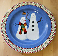 Sakura Snowman Salad Plate Debbie Mumm  2 Snowmen Birds No Hats Casual Oneida