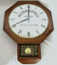 "VINTAGE ADVERTISING SCHWEPPES AD UNITED ELECTRIC WALNUT MAN CAVE 12"" WALL CLOCK"