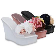 Damen Sandaletten Pantoletten Blumen Transparent Keilabsatz 834408 Schuhe