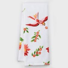 Food Network Red Bird Floral Kitchen Towel Flowers and Birds Dishcloth