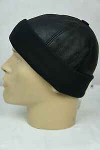 Black Shearling Leather Fur Knit Beanie Cuff Round Bucket Winter Ski Hat M-XXL