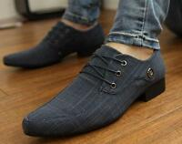 New Fashion Men's Casual Pointed toe canvas Wedding Formal Dress Shoes Oxfords