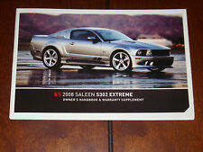 2008 SALEEN OWNERS MANUAL S302 EXTREME HANDBOOK FORD MUSTANG