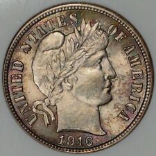 1916 Barber Dime, ANACS MS 64, Pretty Toning, Old holder