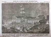 Ruine de la Bastille 1790 Fête Révolutionnaire Gravure Révolution Française