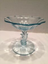 "Vtg Elegant Depression Glass Fostoria Baroque Comport 4 3/4""T Blue"