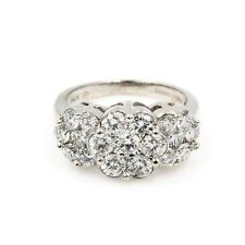 14K WHITE GOLD CLUSTER 1.96 CTW DIAMOND COCKTAIL RING SIZE 5 NO RESERVE (403B-1)