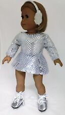 Doll Clothes fits 18 inch American Girl - Silver Sequin Skating Dress & Earmuffs