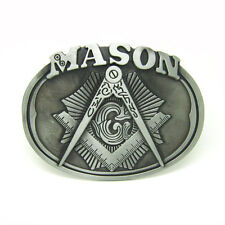 Mason Masonic Masonry Lodge Belt Buckle Freemason Secret Sect Society Compass