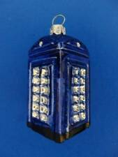 BLUE LONDON ENGLAND POLICE PHONE BOOTH BLOWN GLASS CHRISTMAS ORNAMENT TELEPHONE
