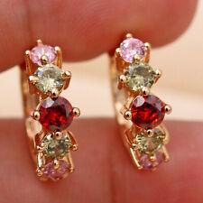 18K Gold Filled - Round Ruby Emerald Pink Topaz Zircon Women Party Earrings DS