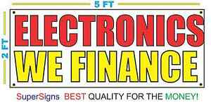 ELECTRONICS WE FINANCE Banner Sign NEW Larger Size Red & Yellow