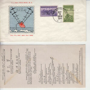RARE WW2 PATRIOTIC V.J.DAY SEP 2 1945 ULTRA CACHET UNKNOWN MAKER UNADDRESSED