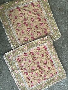 """2 Pottery Barn """"Paisley - Floral Handkerchief - Yellow"""" 19"""" Pillow Covers"""
