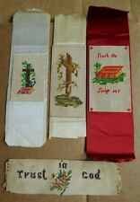 Religious Needlepoint Trust In God Search The Scriptures & Crosses Lot of 4