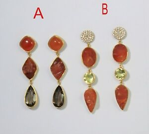Rough Carnelian Gold Plated Cocktail Earring 925 Sterling Silver Jewelry ME3060