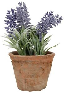 Artificial Small Lavender Plant in Rustic Terracotta Pot, 16cm in Height