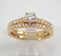 1.50Ct Round Diamond Bridal Set Solitaire Engagement Ring 14K Yellow Gold Over