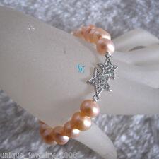 "Row Freshwater Pearl Bracelet Star 7.5"" 8-10mm Aa Peach Pink Single"